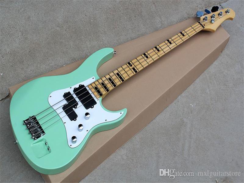 Beyaz Pickguard, Maple TUŞE, Krom donanımlarla olan Nane Yeşil 4 Strings Elektrik Bas Gitar, teklif özelleştirilmiş