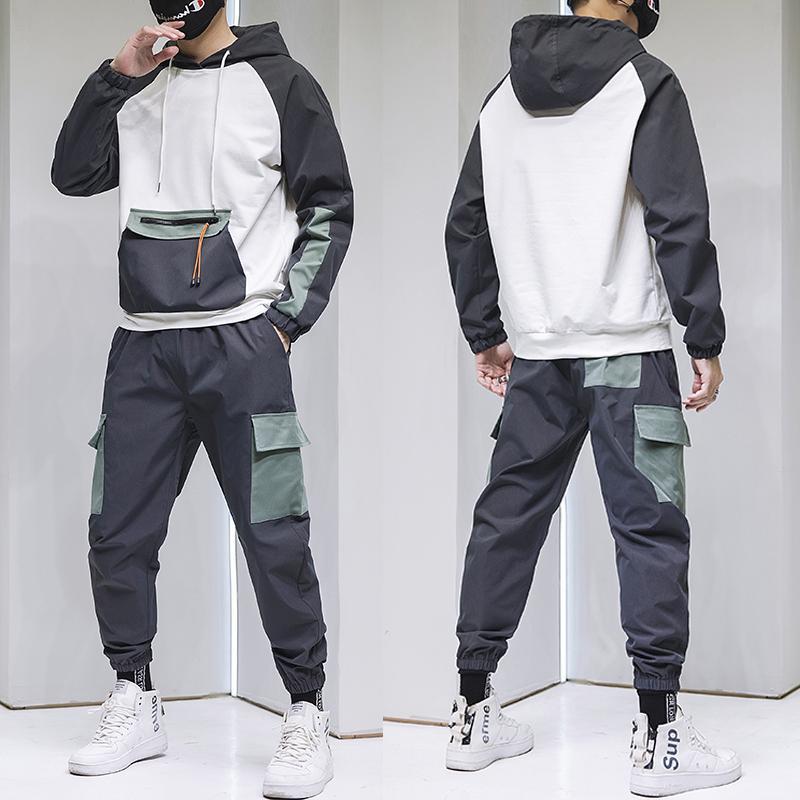 White Men Pullover Sets 2020 Herbst-Marken-beiläufige Art und Weise Anzug Mens Sport Zwei Stück-Patchwork-Hoodie + Pant Männlicher Kursteilnehmer Anzug