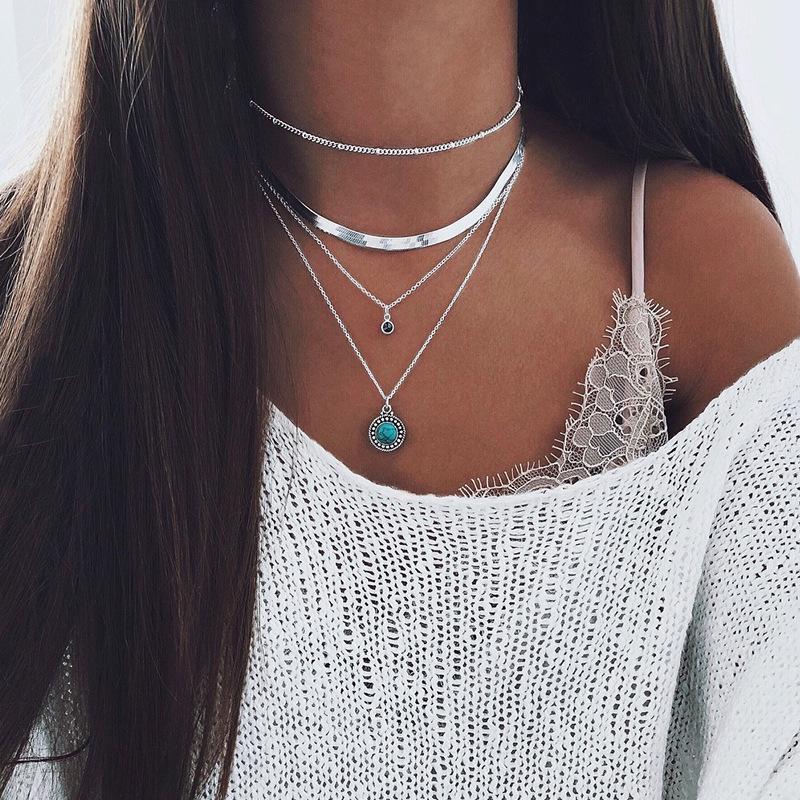 Boho multi-elemento collana d'oro delle donne delle collane di modo per il cristallo d'epoca più strati di monili del regalo Collana