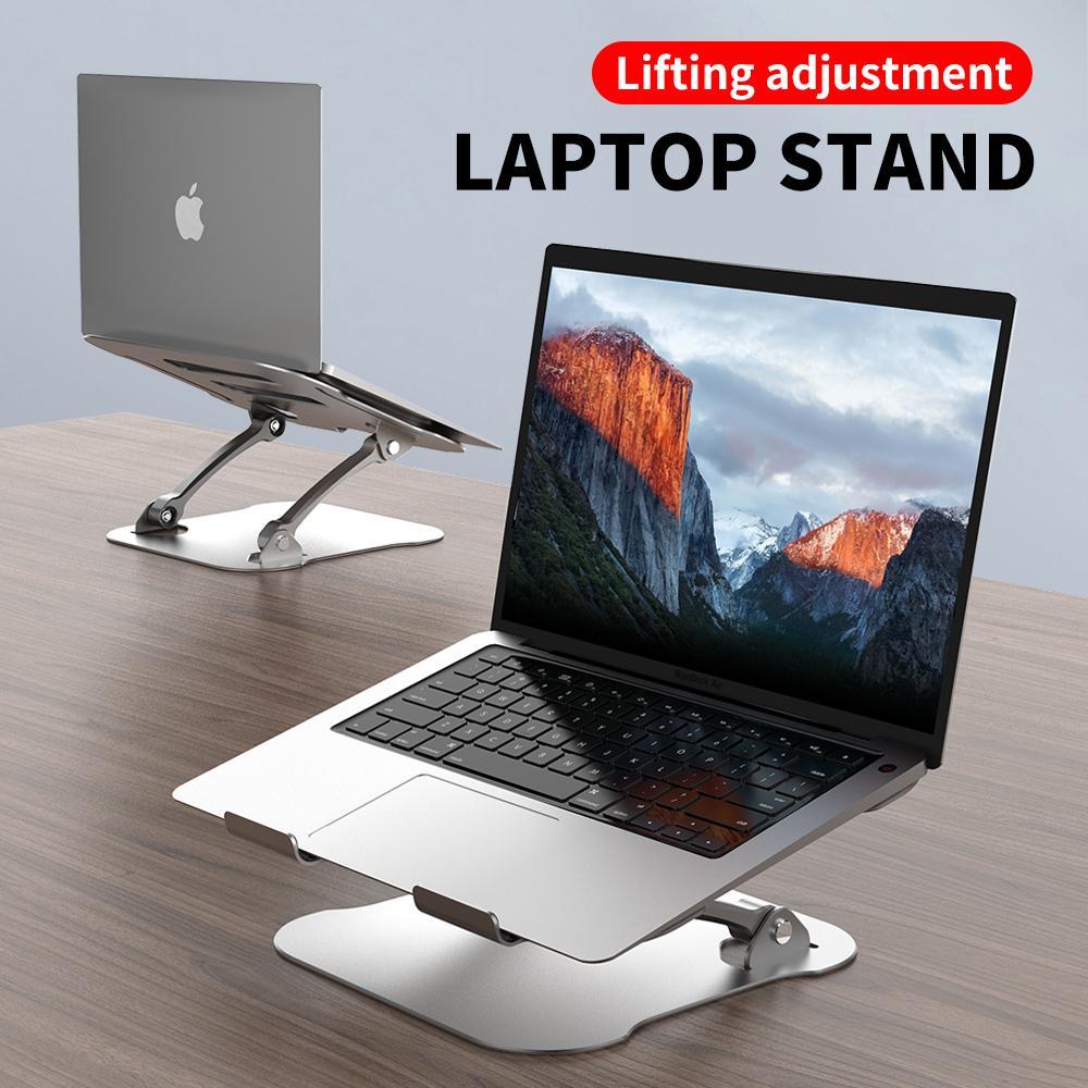 Laptop Lifting Bracket Computer Cooling Frame Aluminum Alloy Metal Flat Desktop Support Notebook Adjustable Height Stand