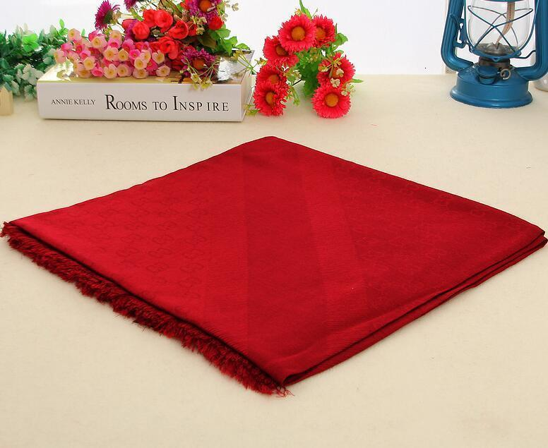 High Quality Wool cashmere Silk Cotton scarf Wrap shawl Men Woman Letter printing Scarves Large square 140*140CM red