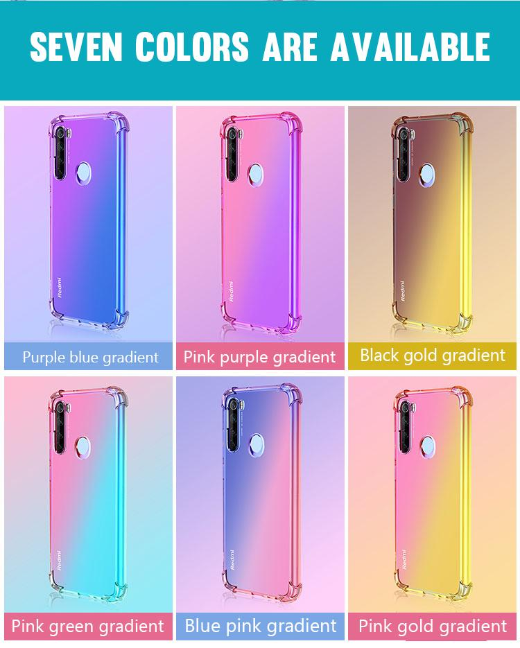 Amortiguador de aire del gradiente bicolor Claro teléfono caso para Xiaomi MI10 10lite Nota 10 Lite Mi 9 SE Pro 9T CC9 Pro E 8 Lite TPU cubierta a prueba de golpes