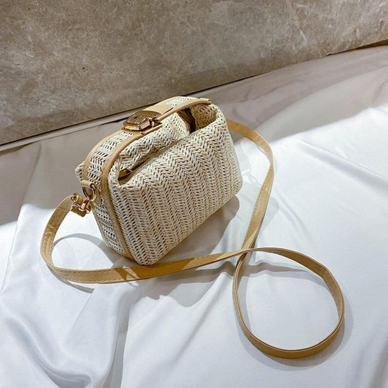 Nueva moda de verano Pequeño tejer tejidos Crossbody Bolsa manera de las mujeres bolsos de hombro del diseñador de la playa linda bolsa de mano Bolsas de Viaje