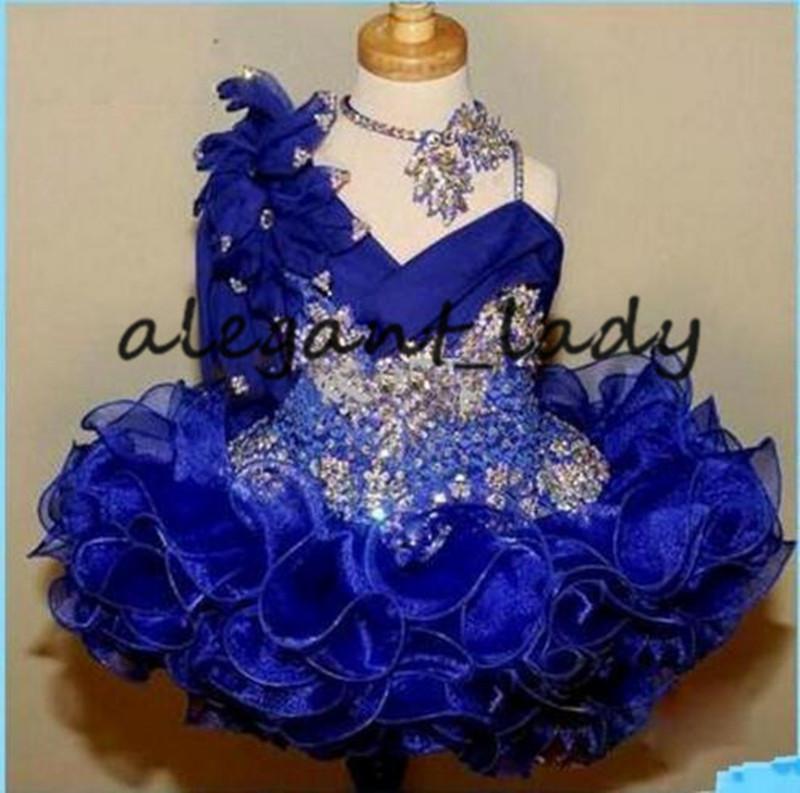 Florista del Glitz desfile de vestidos de azul real del cordón de la muchacha linda Vestidos de mano flores de los granos hechos los cristales de las gradas para niños pequeños vestidos del desfile