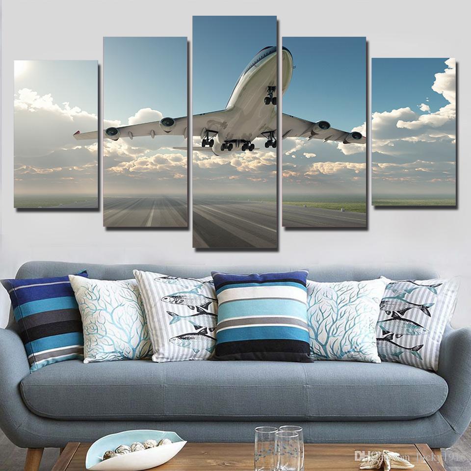 5 paneles de gran tamaño del paisaje del extracto de la lona del aceite pintura del arte avión en el aeropuerto de fotografías para la sala de estar decoración del hogar
