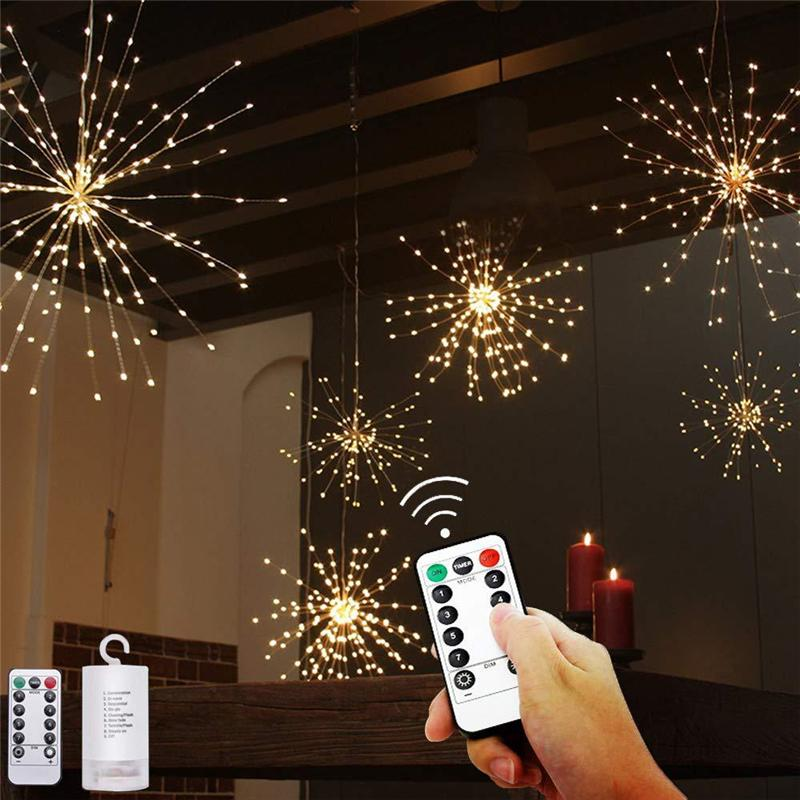 Christmas Lights 8 Modes Battery Operated Decorative LED Lights 120 150 180 200 LED Firework Shaped Copper Wire Mini Led String Lights