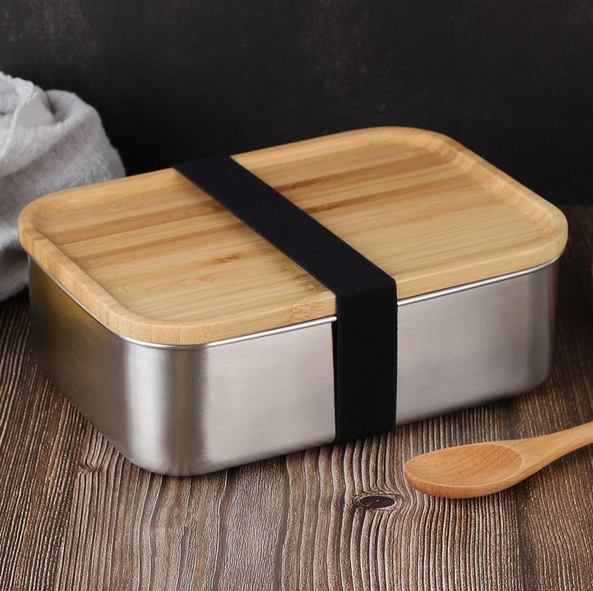 800ml Container Lunch Box com tampa de bambu de aço inoxidável Bento caixa de madeira Top 1 camada de cozinha Container fácil para Take KKA7844