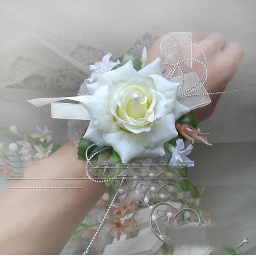 Nuevo diseño de la sede artificial de Rose Flores decorativas para la decoración o Prom muñeca ramillete de flores con brazalete de perlas de Boda