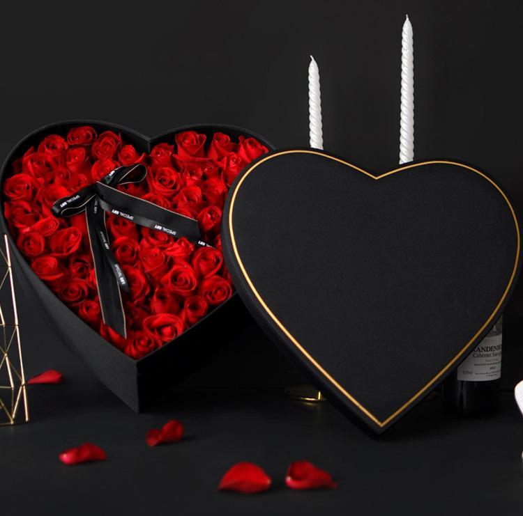 Professional custom heart shaped design box for flowers heart Light Decor Gift Box Bag Long Lasting Preserved Roses Flowers