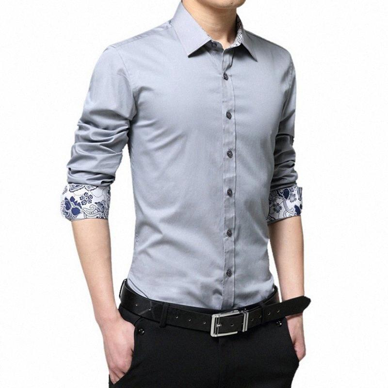 LASPERAL Casual Langarm-Mann-Hemd Großer Size Slim Mode-Designermode 2019 neue Herbst-Männer Marken-Hemd Business Wear 2eWy #