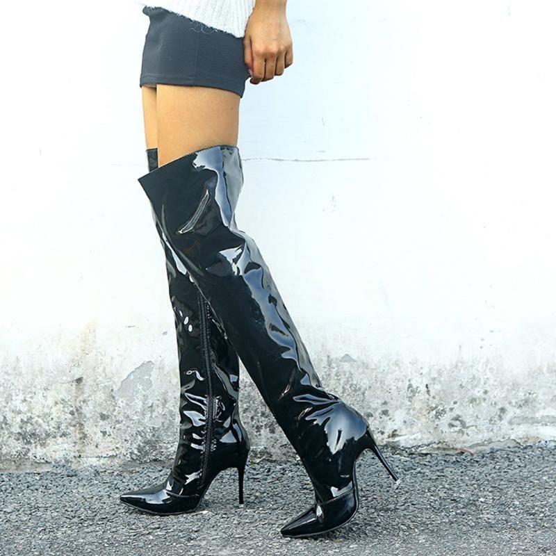 Женщины Sexy High Boots Winter Бедро High Nighclub Загрузочной Женский Пром стилет каблук Обувь Яркой Кожа Колено Более Длинный Botas