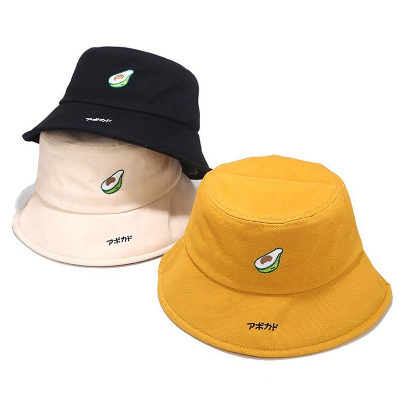 Авокадо Рыбак Hat Женский Корейский Cute Cartoon Caps Японское искусство Bucket Hat Caps
