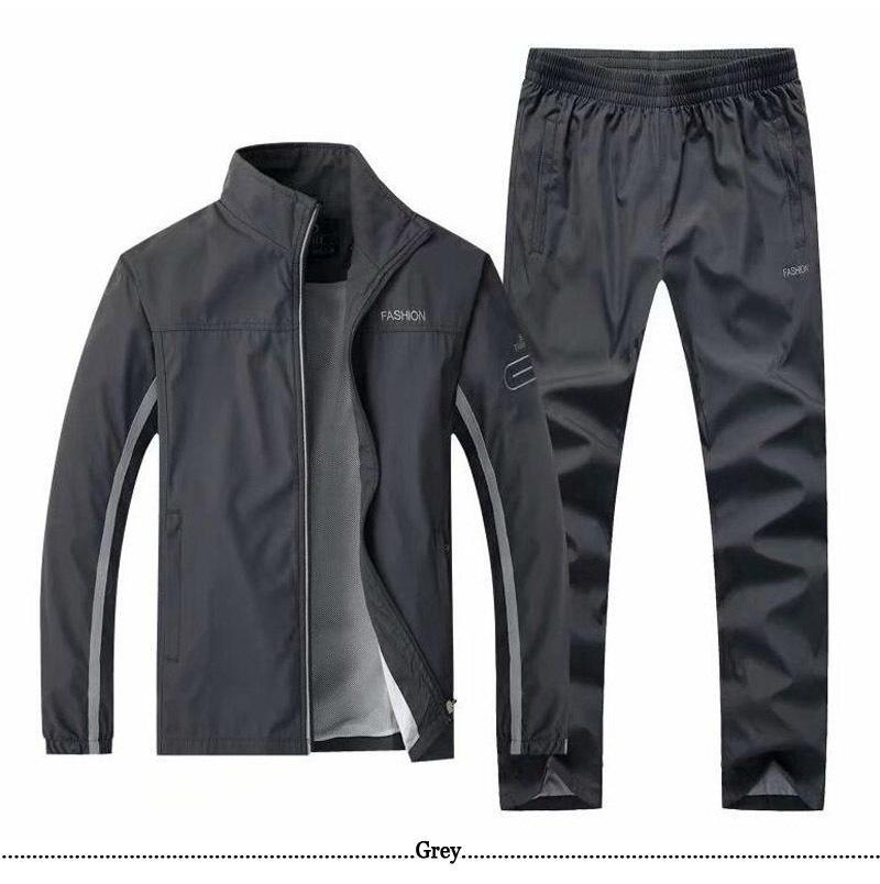 El otoño del resorte del chándal de los hombres de la chaqueta de dos pedazo de la pista pantalones + Operando conjuntos de s de los hombres ocasionales de deporte Correr Gimnasio chándales L-4XL T200709