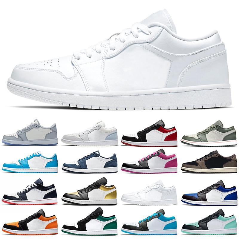 Nike Air Jordan Retro Jumpman 1 Düşük erkekler kadınlar basketbol ayakkabıları 1s Erkek Eğitmenler Dio Üniversitesi Altın Eflatun Kraliyet Obsidian Erkek Spor Ayakkabıları Sneaker
