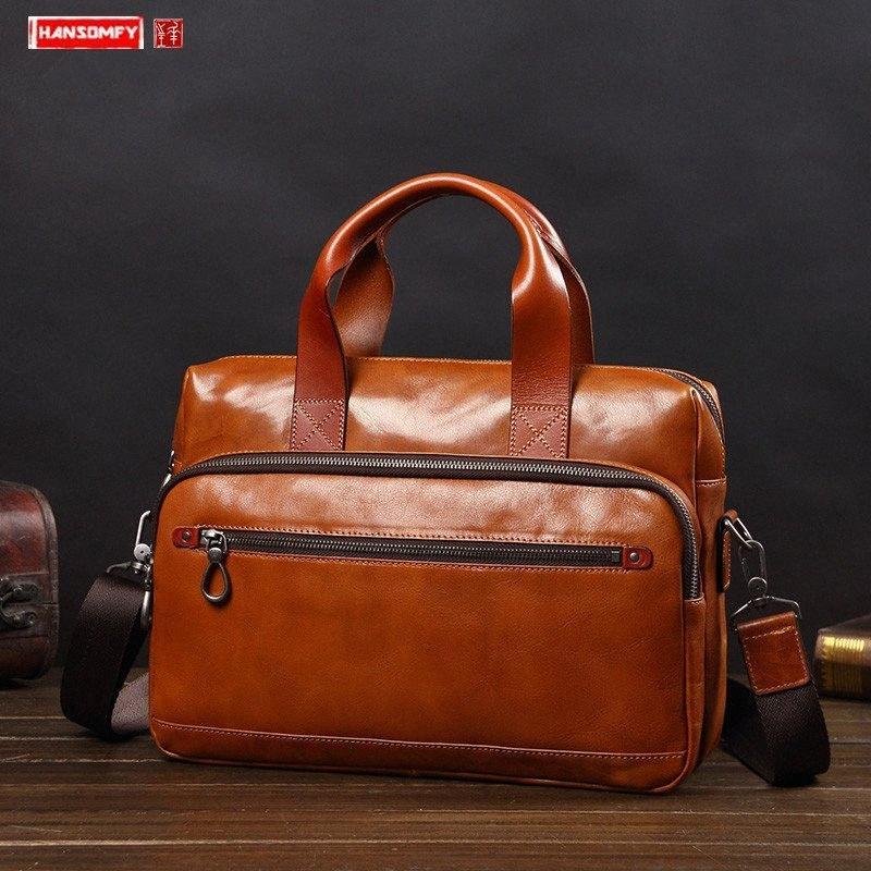 Negocio bolso de cuero para hombre de la cartera del hombro de la manera ocasional del mensajero del bolso del ordenador de gran capacidad Bolsas de viaje de cuero 2020 L1t7 #