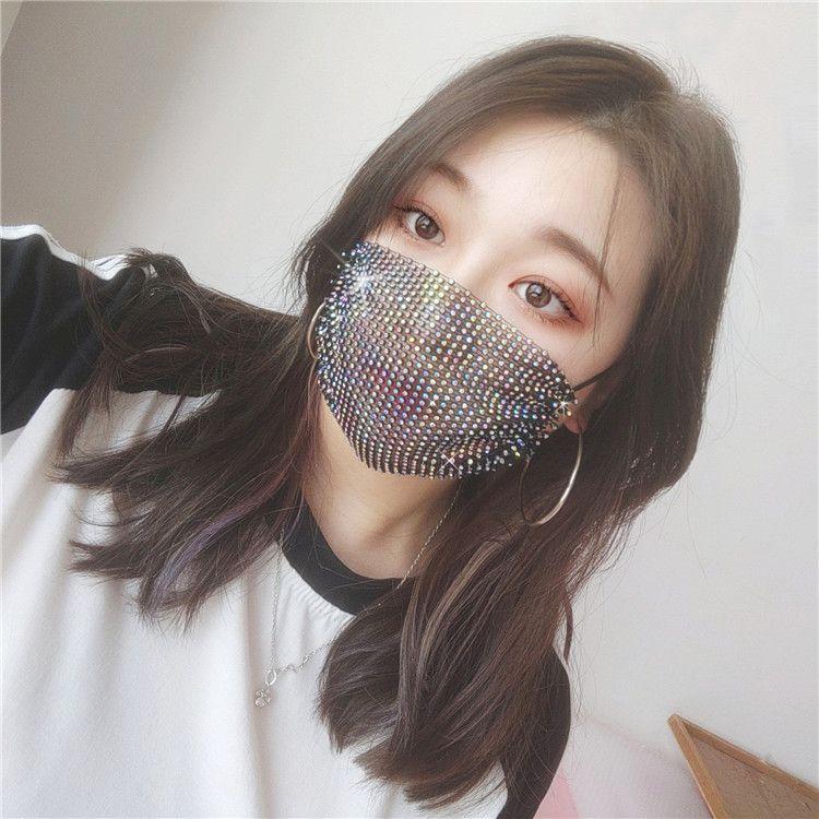 Moda Sparkle paillettes Blingbling Designer Maschera per il viso maschere bocca del partito delle donne Accessori lavabili riutilizzabili partito