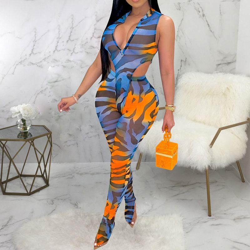 Atractivo ver a través del mameluco pantalones de cintura alta fijaron a las mujeres Verano flaco de 2 pedazos