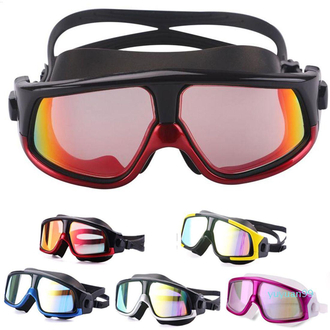 Luxus- Wassersport Bequeme Silikon mit großem Rahmen Schwimmen Brille Schwimmbrille Anti-Fog UV Männer Frauen Schwimmen Maske Wasserdicht