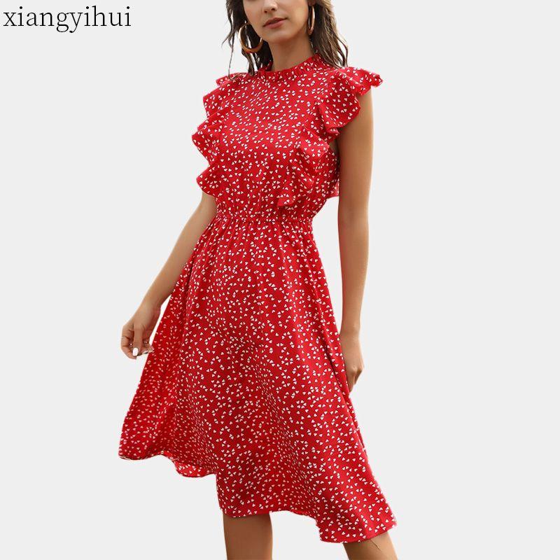 Bolinhas vermelhas vestido de chiffon Mulheres Verão Vintage Ruffled vestido sem mangas Midi vestidos elegantes com elástico cintura alta Vestidos