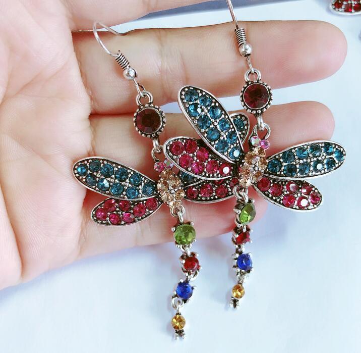 Женщины Серебряные серьги Преувеличены Dragonfly Полный Кристалл мотаться серьги насекомых Форма серьги ретро Bohemia кисточкой серьги ювелирные изделия