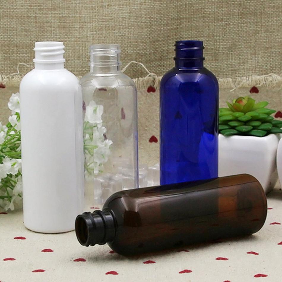 100 ml Plastik Kozmetik Boş Şişe Beyaz Temizle Amber Sıvı Deneme Şişe Basın Kapağı Yuvarlak Alt Depolama Gemi Ambalaj LJJP261
