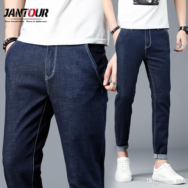 Affari Stretch casuale classico pantaloni in denim pantaloni sottili Jeans Uomo Cotone Blue Jeans Uomo Szie 28-38 2019 di nuovo modo