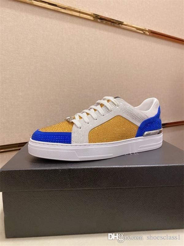 PP Treinador Shoes reflexiva branca Plataforma Sneakers camurça preta 100% couro formadores brancos para homens hs200508