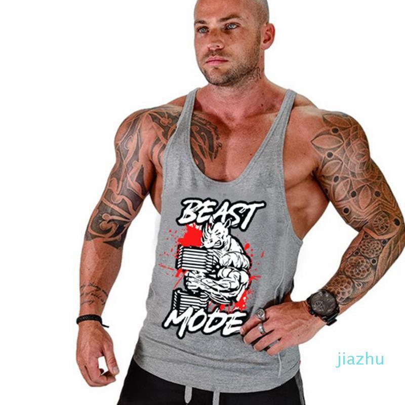 Free shipping 2020 Newest men gym tank tops Gym tank top Vest Stringer Bodybuilding Singlet cotton Sport Sportswear Men's Fitness Clothing