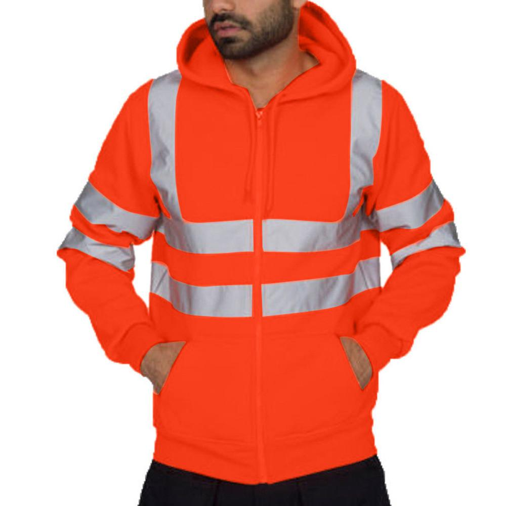 Chaqueta de invierno de los hombres reflectante sudadera con capucha informal del trabajo de camino de alta visibilidad Pullover 2019 Milltary Pantalón de trabajo 10.15 CX200801