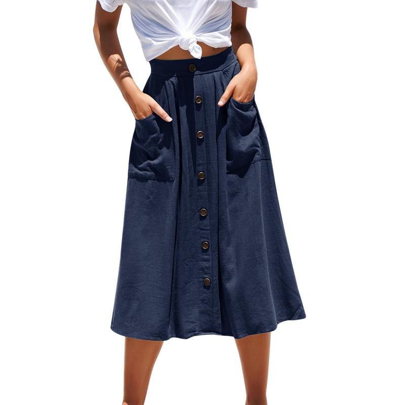 Юбки 2021 Весна Летние Мода Повседневная Женщины Чистый Цвет Высокая Талия Одиночные Кнопки MIDI Юбки Юбки