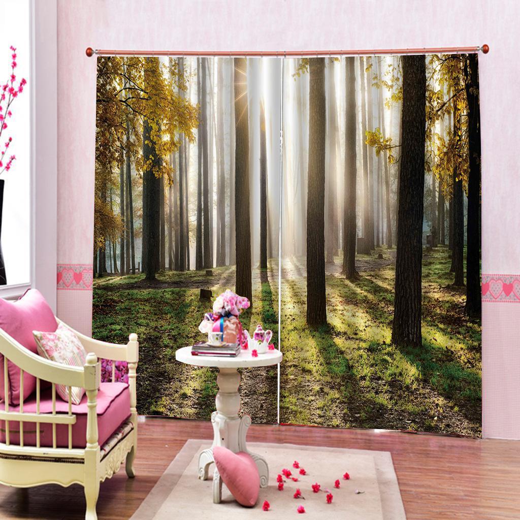 Personalizado Natureza Cenário Pattern Cortina Floresta para sala de estar Quarto Blackout Janela cortinas Home Decor 2 painéis com ganchos