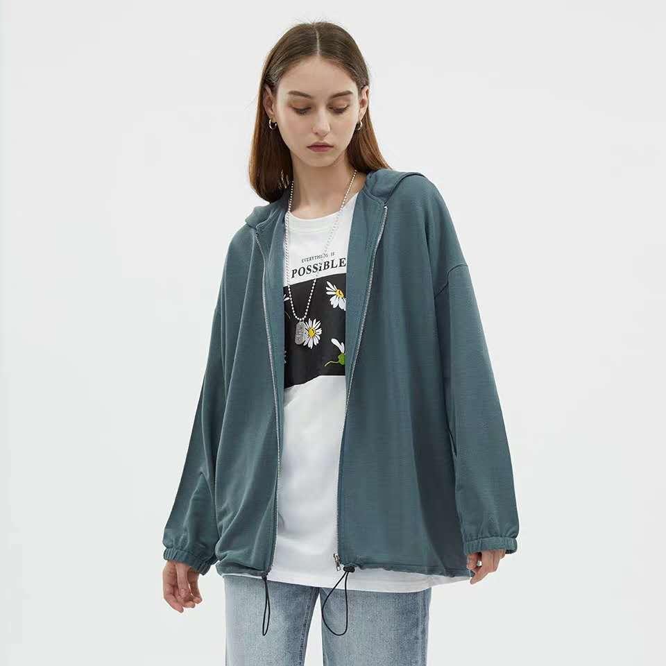 étudiant fille vêtements de protection solaire anti-UV respirant la soie glacée maille fine à manches longues cardigan veste ample
