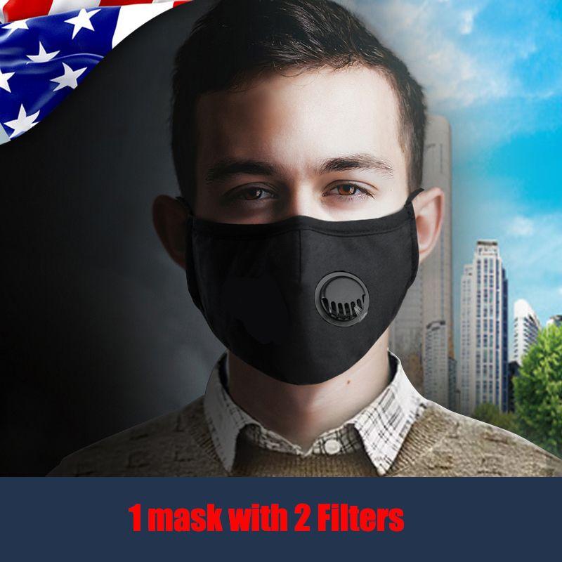 Respirador de máscara contra el polvo máscara anti-polvo del humo Máscara reutilizable válvula de protección del respiradero ajustable con 2 filtros de DHL