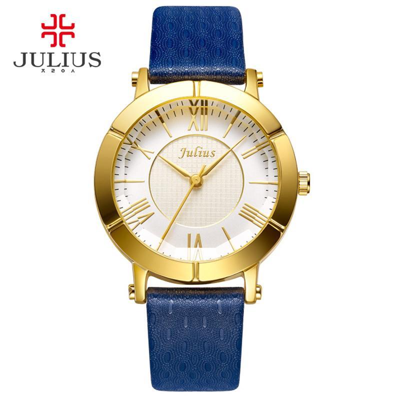 JULIUS Blue Montre Femme en cuir véritable bracelet plaqué or rose Montre Top Marque Femmes en cuir de luxe Quartz Reloj militaire JA-789