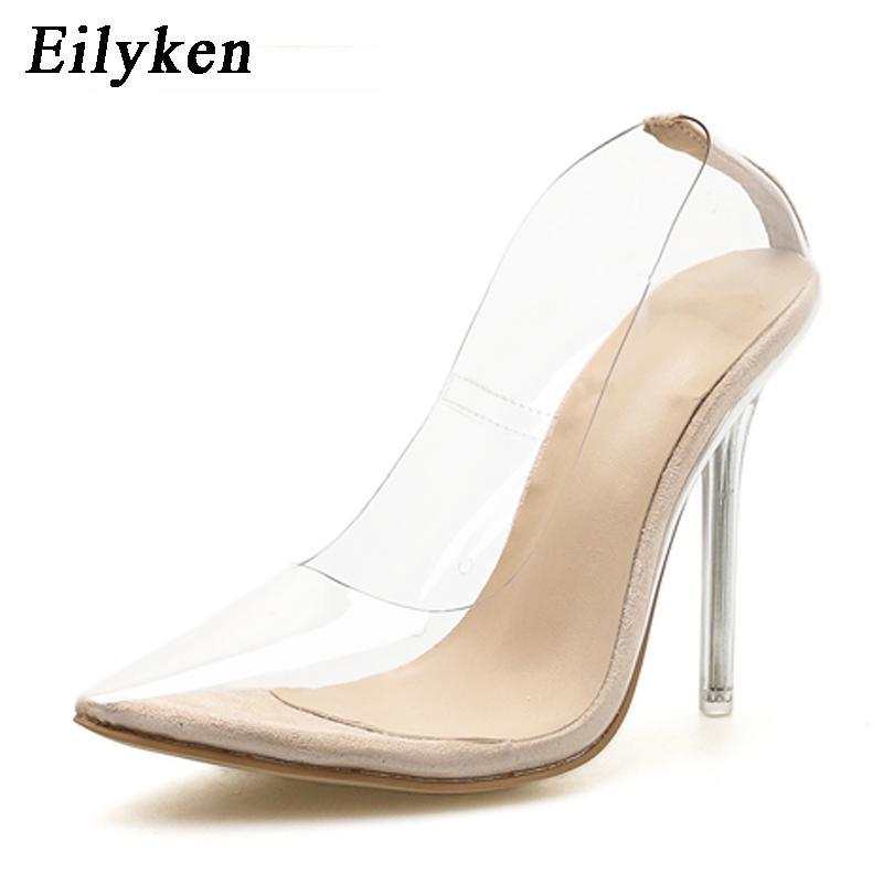 Eilyken Cancella PVC trasparente pompa i sandali tacco in perspex stiletti alti talloni di Point Toes Womens Party Scarpe locale notturno della pompa 35-42 CX200715