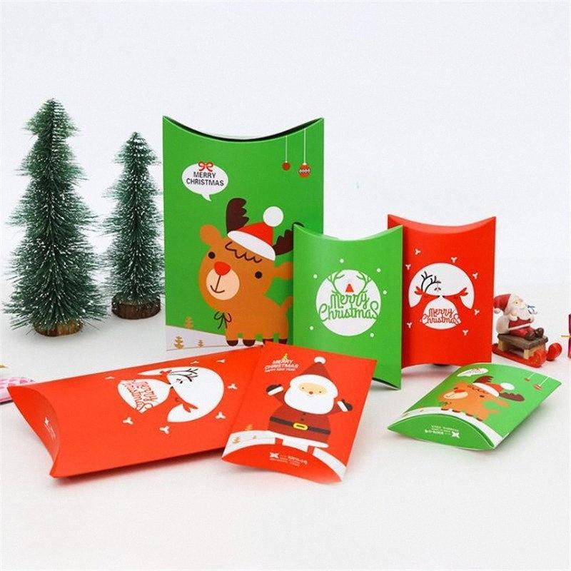 50pcs / lot caixas de presente para Chocolate Jóias Papai Noel da festa de aniversário de casamento Box Pillow embalagem dos doces Elk Caixas fD1T #