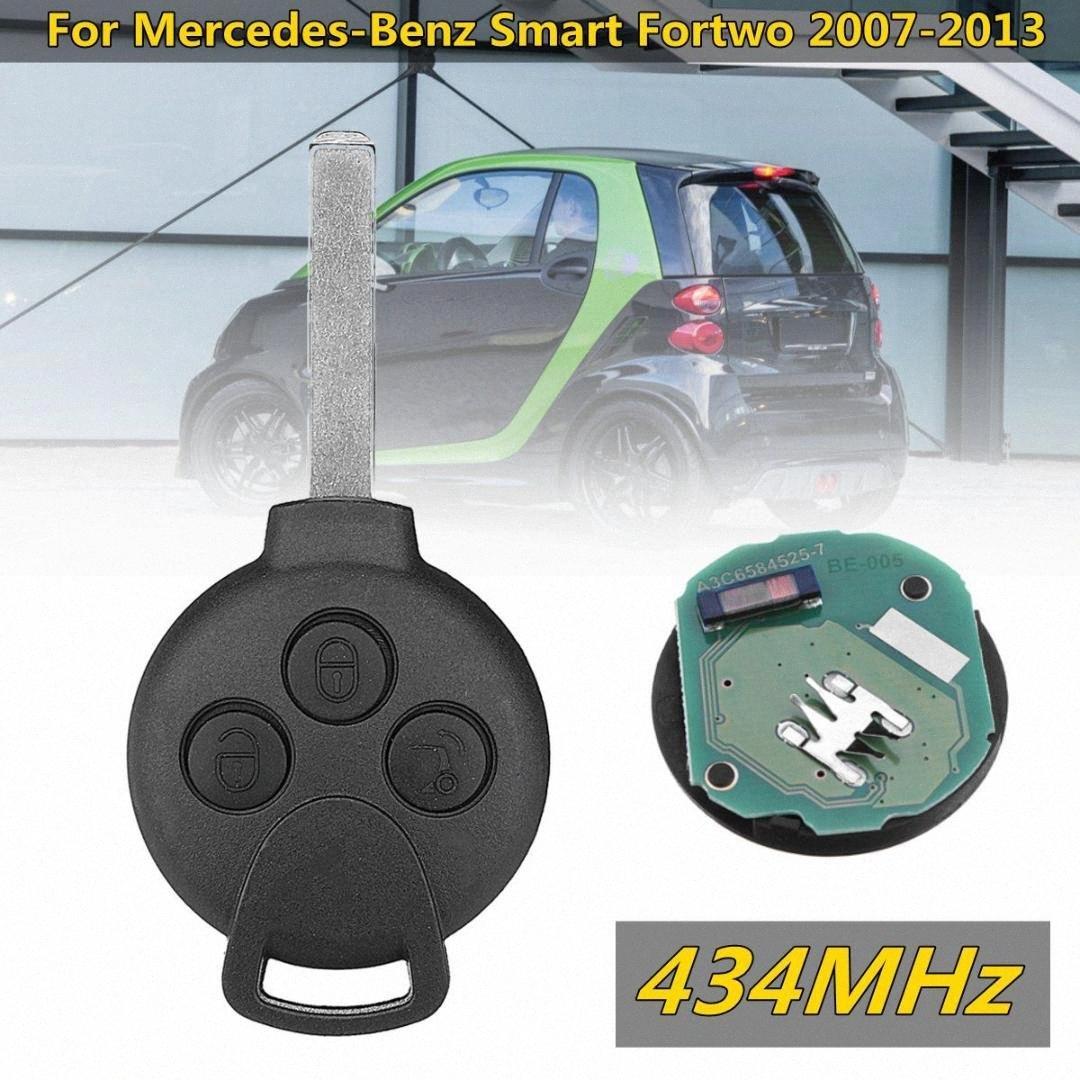 434MHz 3 Botão inteligente remoto chave do carro Fob Para Smart Fortwo 2007 2008 2009 2010 2011 2013 Auto remoto Key Fob Lâmina 6rOQ #