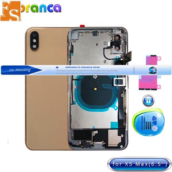 Cubierta de cristal trasero de la cámara del orificio grande OEM para el iPhone 8G 8P x XR XS alojamiento de la batería máxima con partes completas + adhesivo adhesivo envío gratis