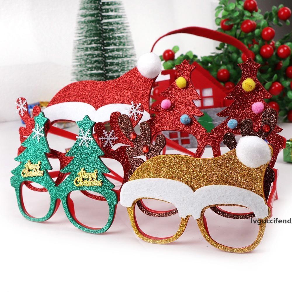 100pcs Décorations de Noël pour la maison Décor Nouvel An Lunettes cadeaux pour les enfants Père Noël cerf bonhomme de neige de Noël Ornements Aléatoire