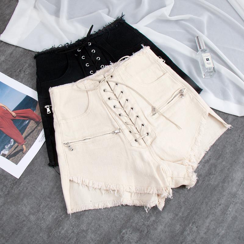 mayor del cordón para arriba el vendaje pantalones cortos de mezclilla pierna ancha de alta cintura femenina de estilo punk de la calle cadenas zipepr cortocircuitos calientes wq1617 nave de descenso