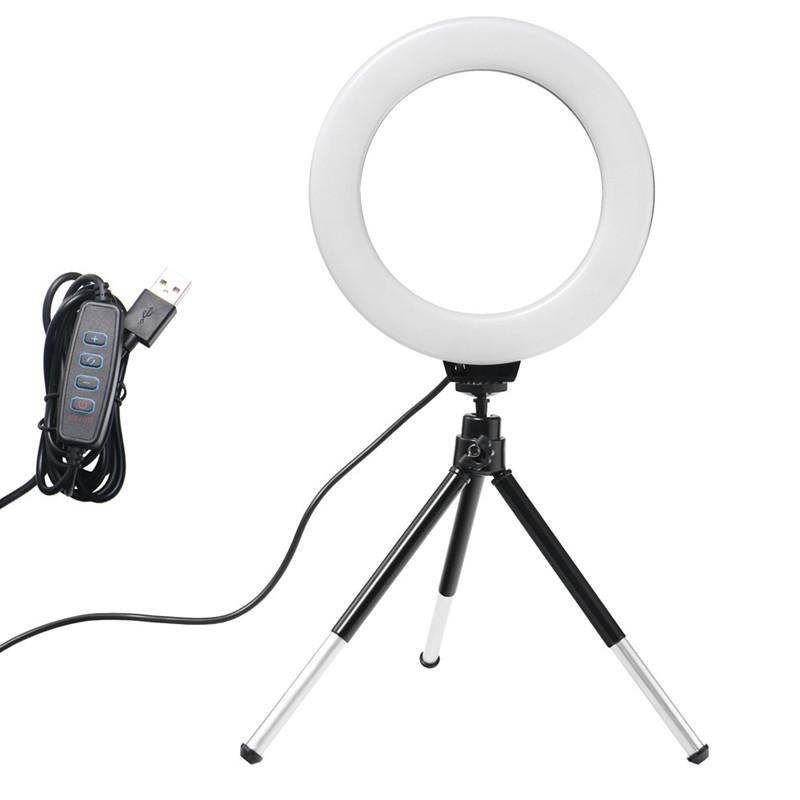 6 pulgadas 16cm mini LED de vídeo de escritorio anillo de luz de la lámpara selfie Con trípode USB Plug For YouTube Live Photo Studio Fotografía