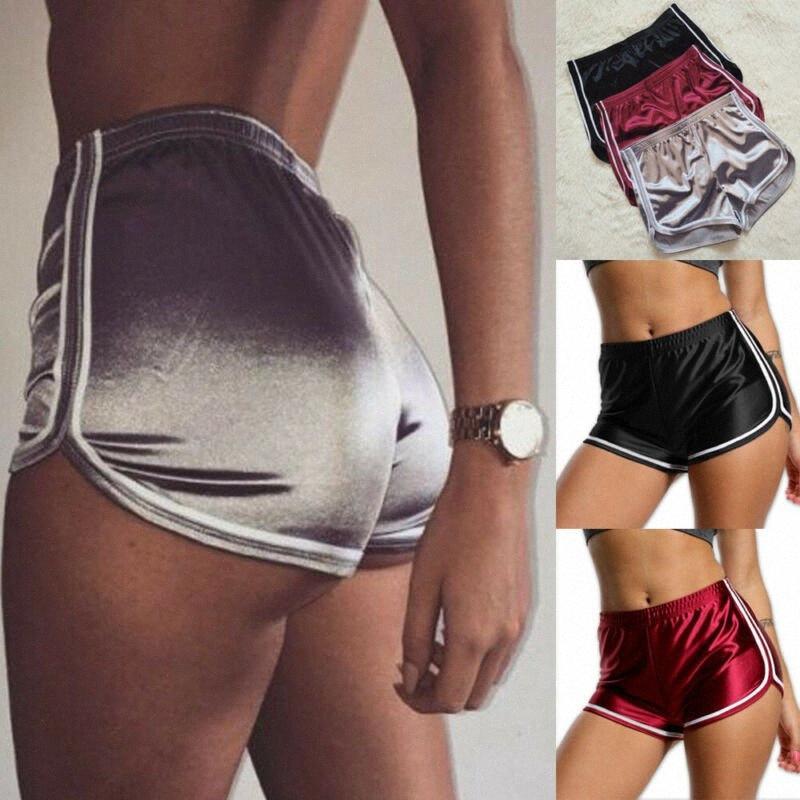 Женщины Бег шорты Йога центр Беговая Спортивные шорты Мода Боковые полосы Горячая леди Спортивная Gym эластичный пояс vFQu #
