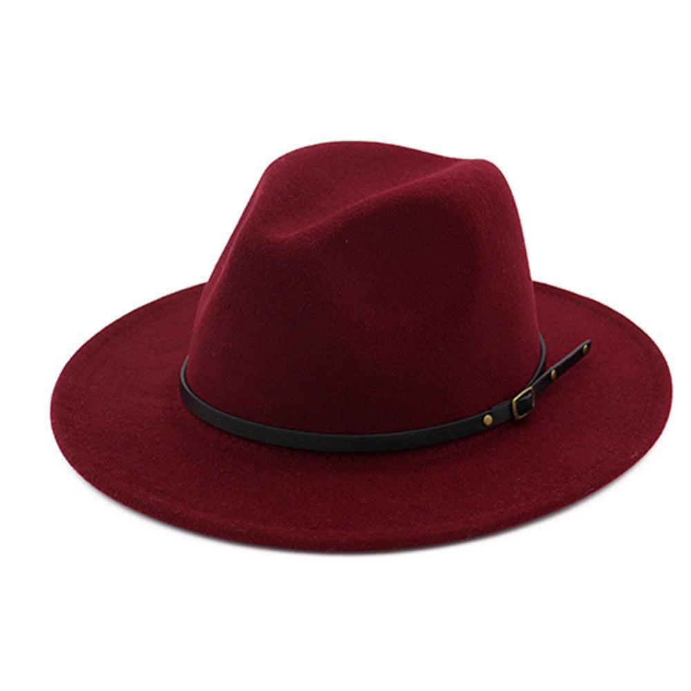 Wine Outer Red Interior Red retalhos de feltro Trilby Cap Hat Outono Inverno lã Jazz Clássico europeu dos EUA Homens Mulheres Fedora Hats