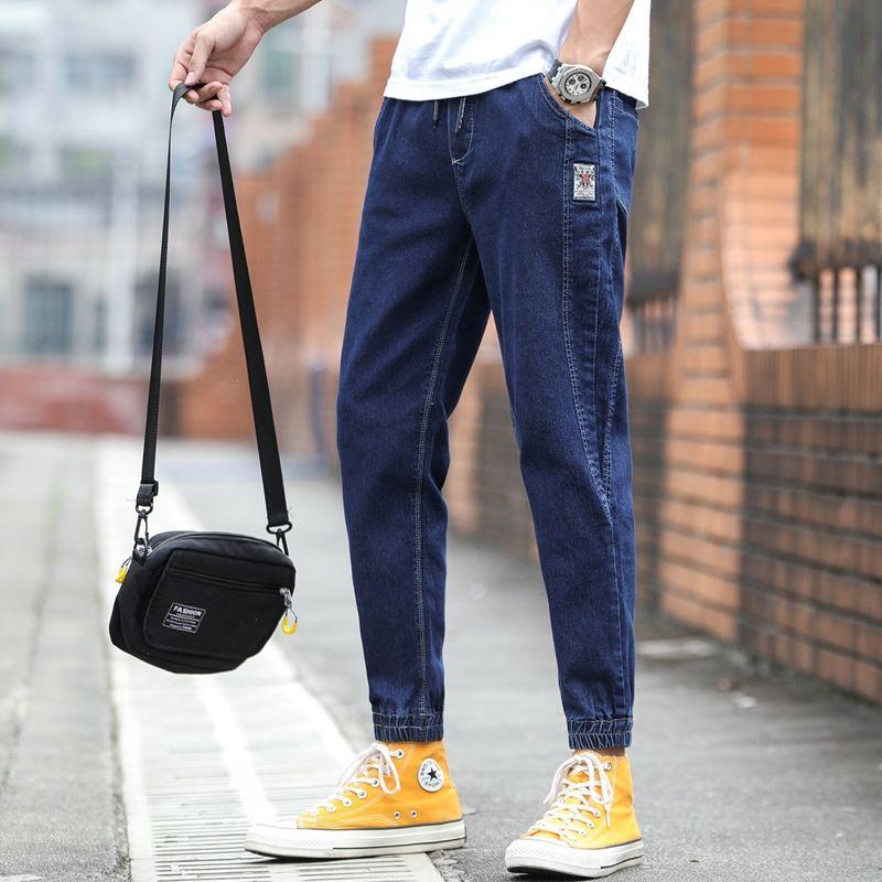 cJBpJ Erkek pantolonları Jeans tozluk Kore tarzı moda dört gündelik tüm maç gevşek mevsim takım kot Harlan moda markası 2020 tozluk