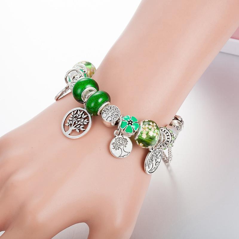 19Tree de vida verde pingente encantos pulseiras define Box Original de Pandora Prata 925 banhado cobra Cadeia DIY Beads Charm Bracelet por Mulheres