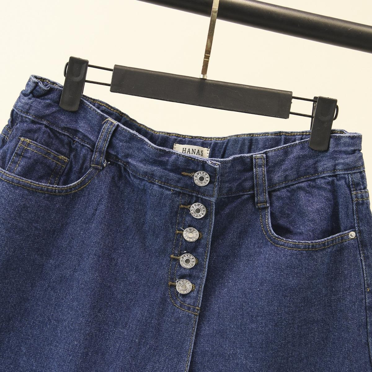 donna di grandi dimensioni abbigliamento 2019 di moda falso in due pezzi e monopetto shorts in denim studenti short larghi gamba I8013