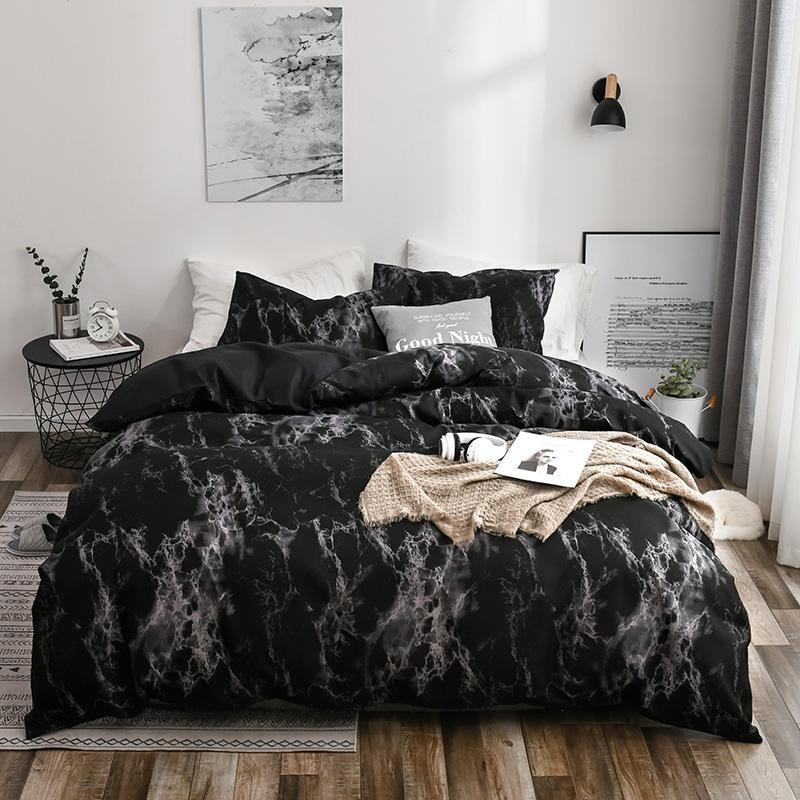 Literie imprimés ensembles de lit en marbre blanc Duvet Noir Couverture Taille européenne Roi Reine Housse de couette Couette Couverture Livraison gratuite HY0001