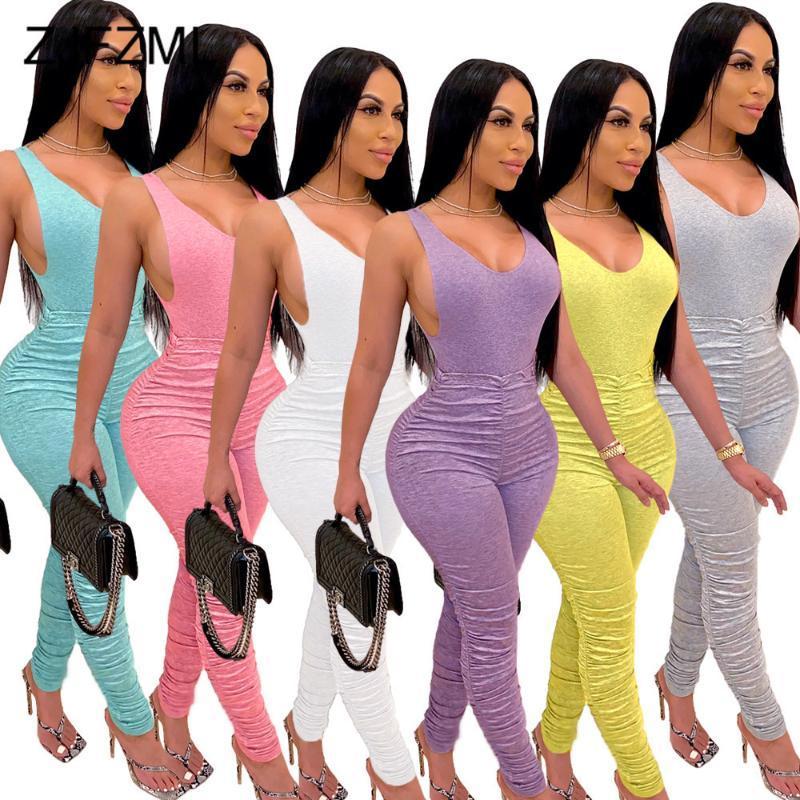 Mulheres ativas usar dois ternos Feminino Treino profundo decote em V One Bodysuits peça e Stacked Pant Corredores Workout Bodysuit Set
