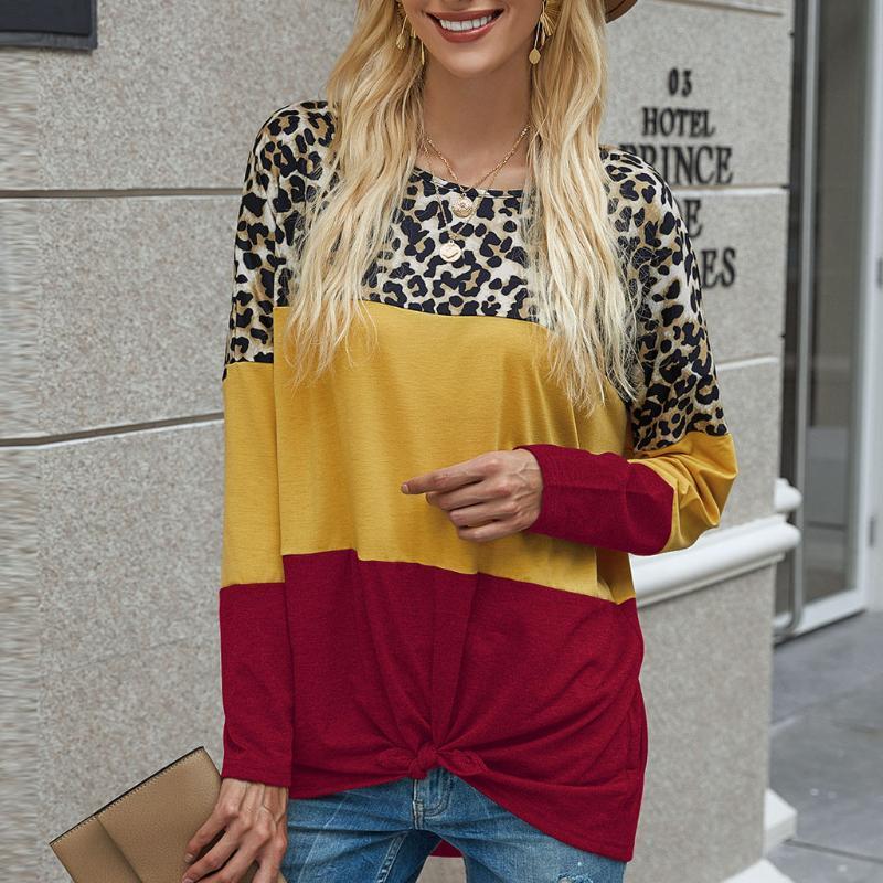 Tişörtü 2020 Kadınlar Casual Leopard Baskı tişört En Uzun Kollu Bluzlar Giyim Casual Streetwear Sonbahar Kadınlar #Z Tops