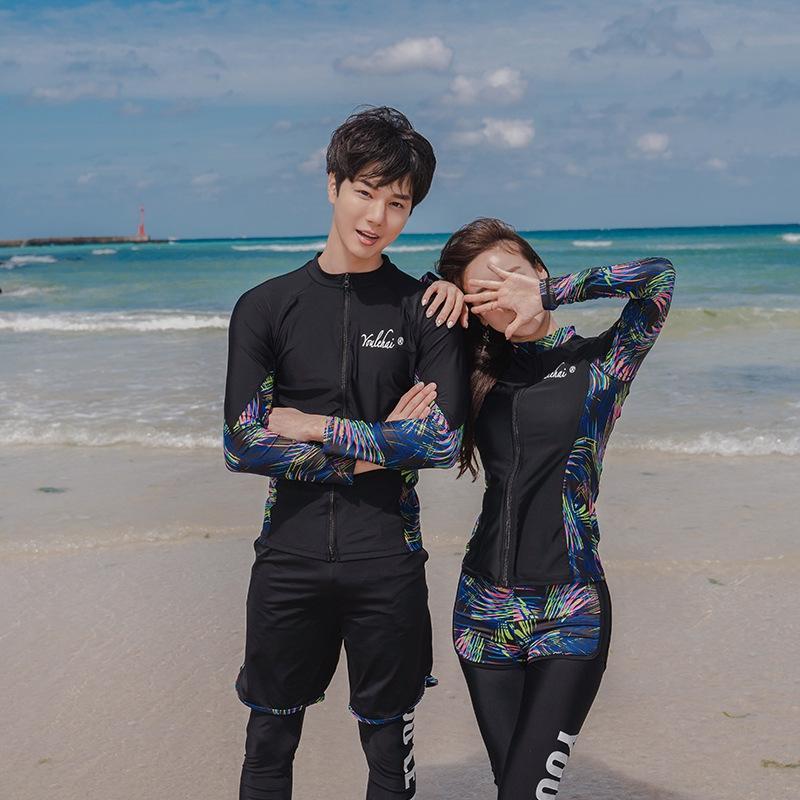 PRGMk Yeni sörf takım elbise yüzme c denizanası dalış Çift dalış fermuar plaj Yüzme giysileri ve kadın uzun kollu pantolon bölünmüş a88cH